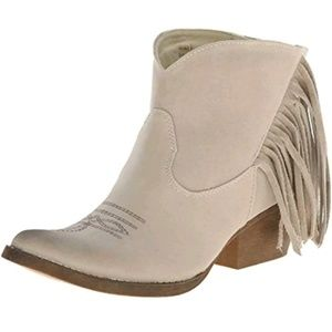 SPITE Low cowgirl boots beige w fringe